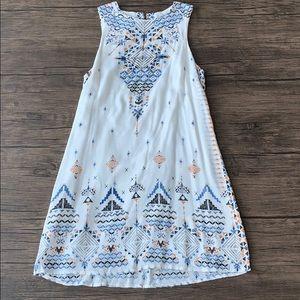 White tribal patterned mini dress